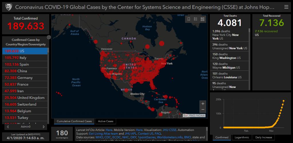 Mapa de Seguimiento del Coronavirus (COVID-19) para Estados Unidos